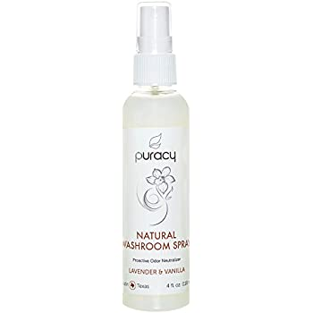 Puracy Natural Room Spray, Lavender & Vanilla Air Freshener, Organic Bathroom Odor Eliminator, Perfume-Free, 4 Ounce