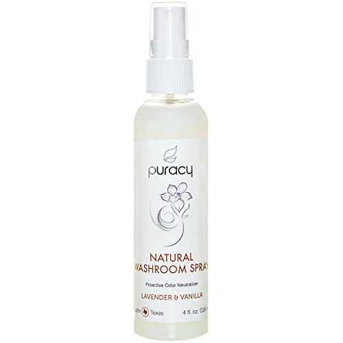 Puracy Natural Room Spray, Lavender & Vanilla Air Freshener, Organic Bathroom Odor Eliminator, Perfume-Free, 4 Ounce