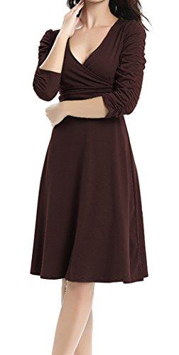 Cuello DELEY Cóctel V 3 Casual Fiesta Vestido Manga Elegante 4 Dress Mujer Marrón Retro rtIrvxq