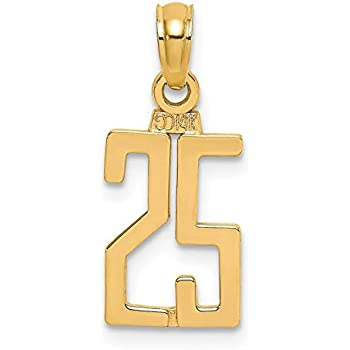 14k Yellow Gold Polished Block Number 3 Pendant
