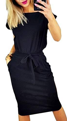 Longwu Vestido de Manga Corta Elegante de Las Mujeres para Trabajar el Vestido Ocasional del lapiz con la Correa Negro-S