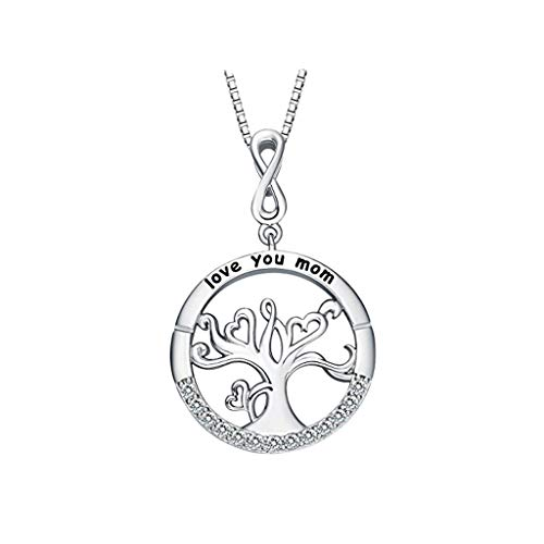 Haluoo ❤️ I Love You Mom Necklace Tree of Life Charm Necklace Sterling Silver Birthstone Pendant Necklace for Women (Silver)