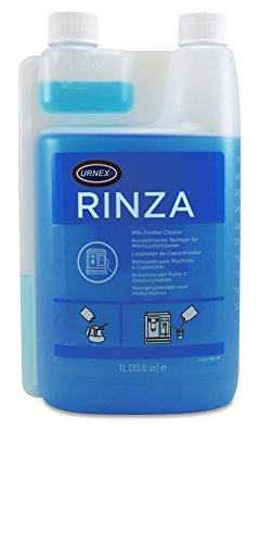 (Urnex Rinza Alkaline Formula Milk Frother Cleaner - 33.6 Ounce [Over 30 Uses] - Breaks Down Milk Protein Fat and Calcium Build Up Cycles Through Auto Frother Cleans Lines Steam Wands & Steel Pitchers)