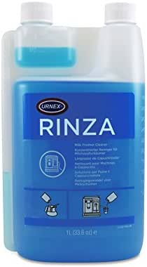 Urnex Rinza Alkaline Formula Milk Frother Cleaner - 33.6 Ounce [Over 30 Uses] - Breaks Down Milk Protein Fat and Calcium Build Up Cycles Through Auto Frother Cleans Lines Steam Wands & Steel Pitchers