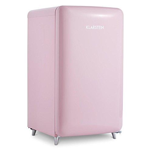 Klarstein PopArt Pink Kühlschrank mit Gefrierfach im Retro-Design (Energieeffizienklasse A++, 108 Liter Fassungsvermögen, 13 Liter Volumen Gefrierfach)