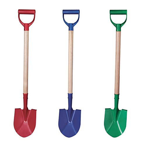 Beachgoer Pack of 3 32-Inch Metal Large Heavy Duty Beach Kids Wood Sand Shovels with Plastic Handle - 3 Color Pack Red Blue Green Sand Toys