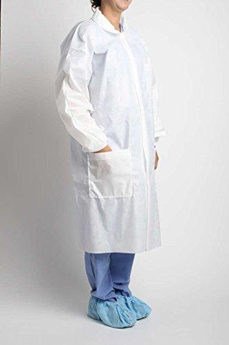 MediChoice Laboratory Coats, Premium, Disposable, Anti-Static, Three-Pocket, Knit Cuff, 5-Snap, Spunbond Meltblown Spunbond, Medium, White (Case of 25) by MediChoice (Image #1)