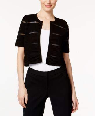 Calvin Klein Womens Petites Striped Crew Neck Cardigan Sweater Black PXS