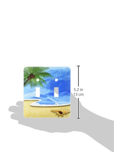 Sea Shell /& Surfer Double Toggle Switch 3dRose lsp/_152537/_2 Beach Scene with a Palm Tree
