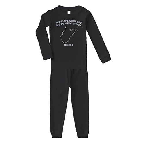 World's Coolest West Virginian Uncle WV Cotton Long Sleeve Crewneck Unisex Infant Sleepwear Pajama 2 Pcs Set Top and Pant - Black, 5/6T