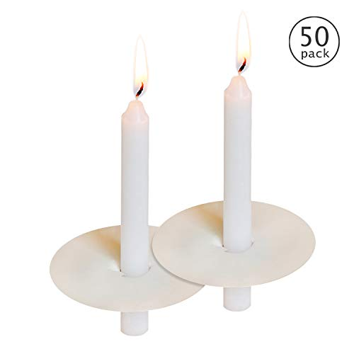 """50 Church Candles with Drip Protectors for Devotional Candlelight Vigil Service, Box of 50 Candles, Unscented White 5"""" H X 1/2"""" D, No Smoke"""