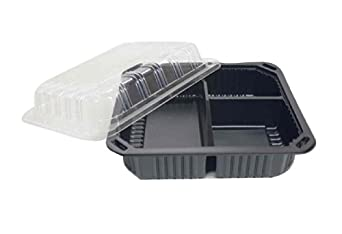 """Choice-Pac L1H-1003-Blk Polypropylene Hot Tray with Clear Lid, 8-7/8"""" Length x 7-7/8"""" Width x 3"""" Height, Black, 3-Cavity (Case of 200)"""