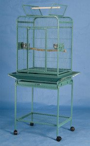 Pet Products Wrought Iron Select Bird Cage Green Hammertone Parrot Bird Play Top With Removable Metal Seed Guard 0532 Green Vein