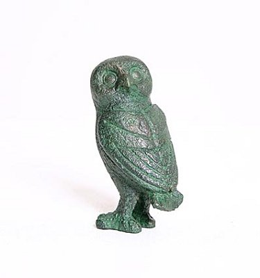 Greek Owl Head Turned Athena Miniature Statue, Green Bronze GRE09 Parastone