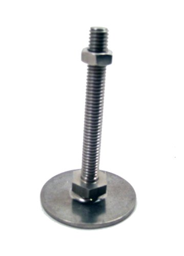 J.W. Winco 12N80SA8/OS Series GN 440.5 Stainless Steel Leveling Feet, Metric Size, M12 x 1.75 Thread Size, 80mm Base Diameter, 80mm Thread Length