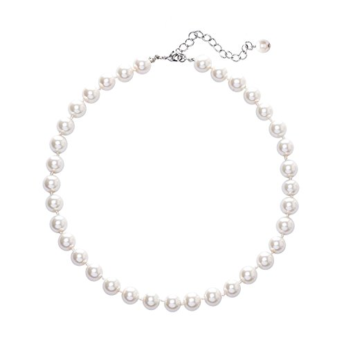 Beaded Ladies Necklace (GoldeaDream Fashion Synthetic White Pearl Necklace Beaded Choker Collar Mother's Day Gift Jewelry for Women-GD028)