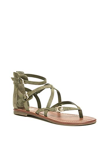 (G by GUESS Women's Harver Strappy Logo Sandals)