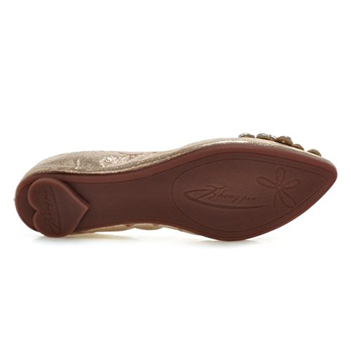COOLCEPT Women Slip-on Flat Comfortable Soft Rubber Sole Ballet Pumps Gold i0QROVlcS