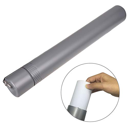 Plastic Telescoping Tube - Drawing Tube Blueprint Case Telescoping Art Tube Large Plastic Black Storage Tube Expands from 20 to 27 Inches Plastic Waterproof and Light Resistant Poster Tube with Strap (Silver)