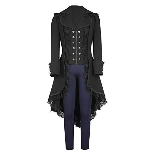 Womens-Tuxedo-Gothic-Tailcoat-Jacket-Steampunk-VTG-Victorian-Coat-Wedding-Uniform