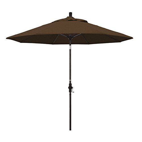 California Umbrella 9' Round Aluminum Pole Fiberglass Rib Market Umbrella, Crank Lift, Collar Tilt, Bronze Pole, Teak Olefin