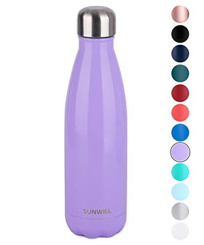 SUNWILL Insulated Stainless Steel Water Bottle Lavender, Vacuum Double Wall Sports Water Bottle 17oz, Cola Shape Travel Thermal Flask