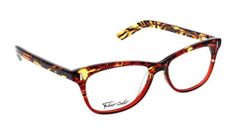 FABIO CIELO (# 5276), Italian Eyeglasses 52mm, Elegant Ladies/ Women RX Prescription Optical Frames Authentic Glasses Includes Case, Made In Italy (Red - Italian Eyeglasses Mens