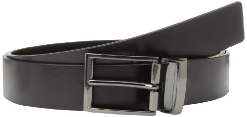 Price comparison product image Calvin Klein Men's Flat Strap Reversible Leather Belt with Harness Engraved Buckle,  Black,  34