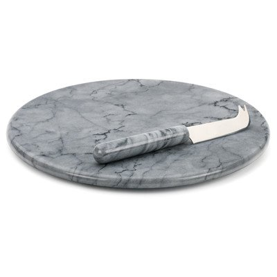 RSVP Grey Marble 2 Piece Cheese Board and Knife Set