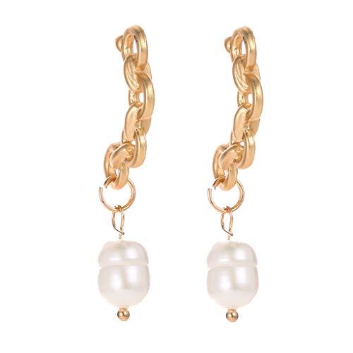 Peigen Irregular Pearl Earrings,Large Pearl Drop Earrings Freshwater Pearls Long Dangle Stud Earring Fashion Jewelry for Women