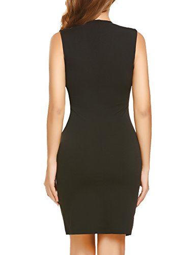 Women's V Cocktail Bodycon Patchwork Zeagoo Blocked Pencil Neck Dress Color Black2 PfHqx6Z