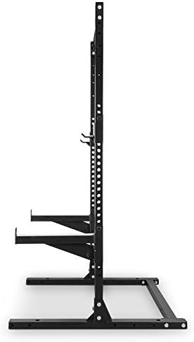CapitalSports Dominat Edition Media Jaula 250kg (Ganchos en J y Soportes de Seguridad de Altura Regulable, Barra única, Ideal para Sentadillas, ...