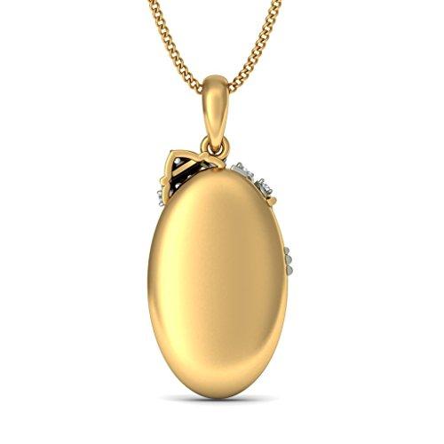 18K Or jaune 0,13CT TW Round-cut-diamond (IJ | SI) Pendentif