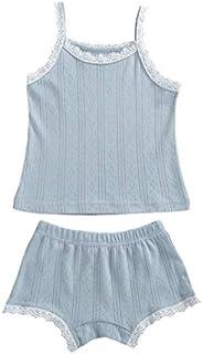 Fepege Toddler Girl Summer Pajamas Set Sleeveless T-Shirt Vest + Shorts Solid Color Suit