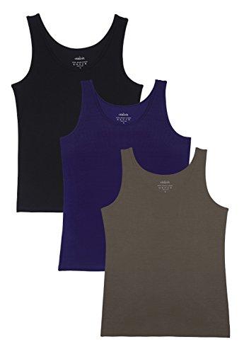 Vislivin Womens Supersoft Camisole Stretch Casual Tank Tops Black/Dark Blue/Coffee L