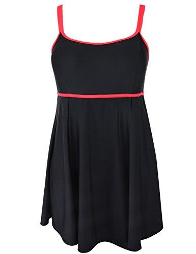 Hilor-Womens-Bandeau-Swimsuit-Color-Contrast-Swimdress-One-Piece-Bathing-Suit
