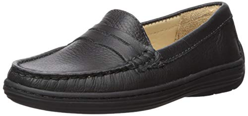 (Driver Club USA Leather Boys/Girls Casual Comfort Slip On Moccasin Penny Loafer Driving Style, Black Grainy 13 M US Little Kid)