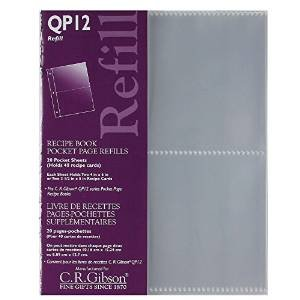 C.R. Gibson QP-12 Small Recipe Book Pocket Page Refill 20 Sheets (Pack of 2) … - Gibson Photo