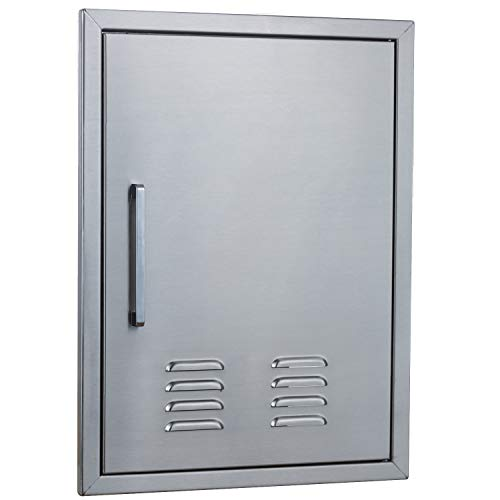 """Outdoor Kitchen Doors Stainless Steel,20"""" by 27"""" Vertical Single Access Door Vented w/Right Swing,Flush Mount for outdoor kitchen and BBQ island"""