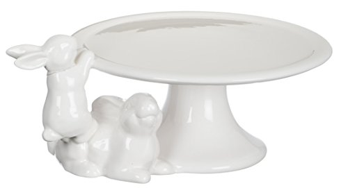 (Sullivans Spring White Bunnies Ceramic Cake Plate on Pedestal 9