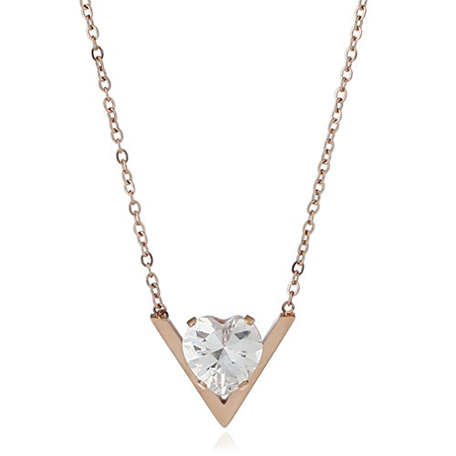 Rose Gold CZ V Letter Necklace Heart Stainless Steel For Women Triangle LOVE JDXN (Boxes Heart Triangle)