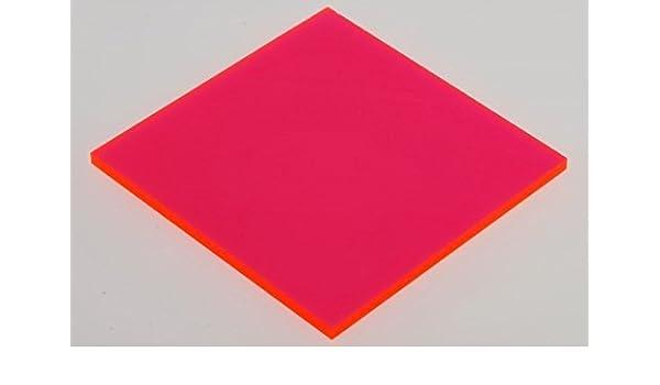 "RED//PINK FLUORESCENT ACRYLIC PLEXIGLASS 1//8/"" X 24/"" X 24/"" PLASTIC SHEET"