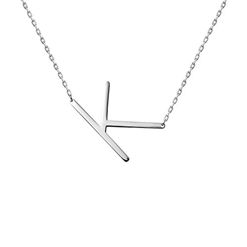WIGERLON Stainless Steel Initial Letters Necklace for Women and Girls Color Gold and Silver from A-Z Letter K Color Sliver