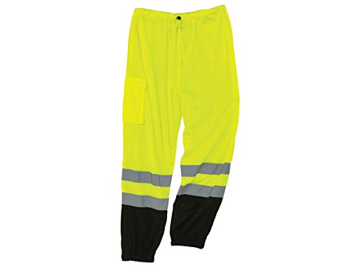 GloWear 8910BK ANSI Black Bottom High Visibility Lime Mesh Reflective Safety Pants, Large/ X-Large