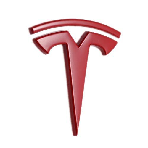 TK-KLZ 3D Metal Car Side Fender Rear Trunk Emblem Sticker Badge Decals for Tesla Roadster Model S Model X Model 3 TESLASUV Decorative Accessories (Red)