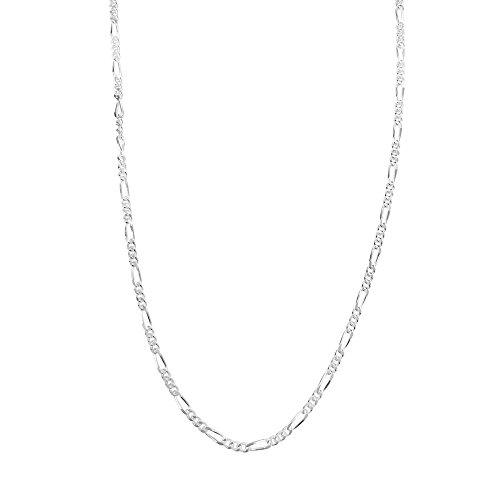 Sterling Silve Figaro Chain Necklace Diamond-Cut Italian Made - 2.3mm - 24 inch Italian Figaro Chain
