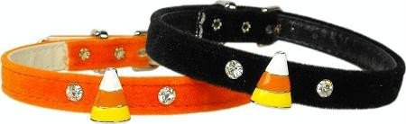 Mirage Pet Products Candy Corn Charm Collar for Dogs, 12-Inch, Orange Velvet