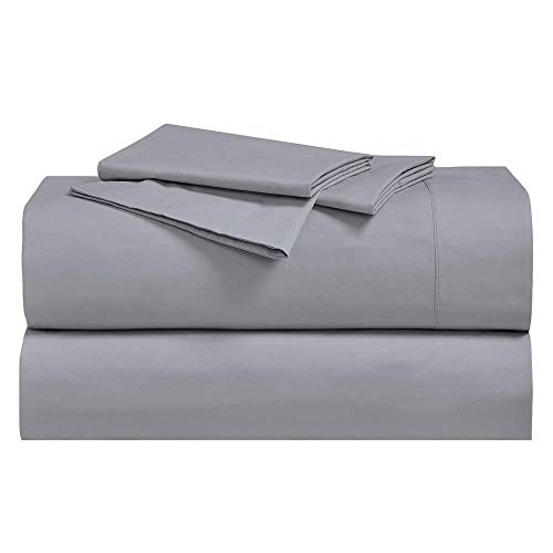 Abripedic Crispy Percale Sheets, 300-Thread-Count, 4PC Solid Sheet Set, 100% Cotton, 22 Inch Super Deep Pocket, King, Gray ()