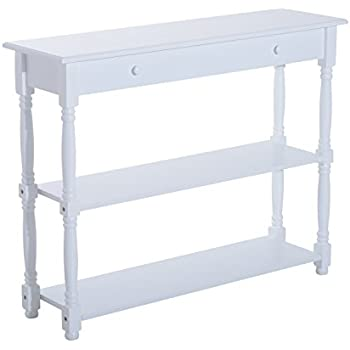 HomCom 40u201d Pine Wood Entryway Console Table (White)