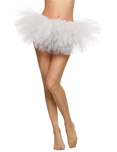 Imixcity Femme Anne 50 Mini Jupe Courte Bal Ballet Pliss Tulle 6 Couches pour Danse Cosplay Dguisement Elastique Soire Scne Blanc